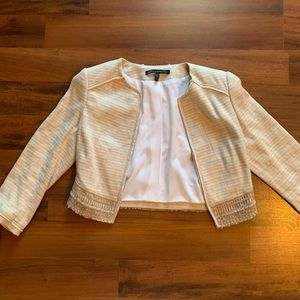 WHBM Tan Tweed Cropped Blazer